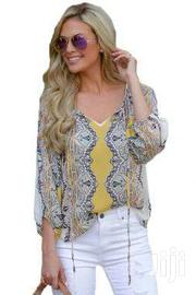 Yellow Bohemian Print Tassel Tie V Neck Blouse | Clothing Accessories for sale in Greater Accra, Accra Metropolitan