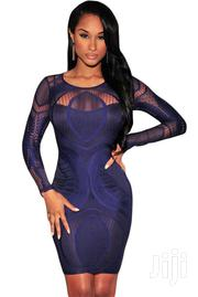 Royal Blue Lace Nude Illusion Long Sleeves Bodycon Dress | Clothing for sale in Greater Accra, Accra Metropolitan
