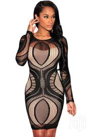 Black Lace Nude Illusion Long Sleeves Bodycon Dress | Clothing for sale in Greater Accra, Accra Metropolitan