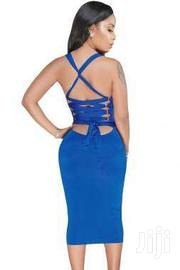 Black Blue Lace Up Ribbon Tie Back Midi Dress | Clothing Accessories for sale in Greater Accra, Accra Metropolitan