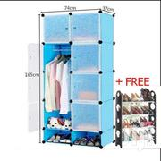 Blue 8 Cubes Wardrobe With Shoe Rack | Furniture for sale in Greater Accra, Kotobabi