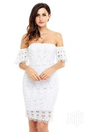 White Short Sleeve Off Shoulder Lace Bodycon Dress | Clothing for sale in Greater Accra, Accra Metropolitan