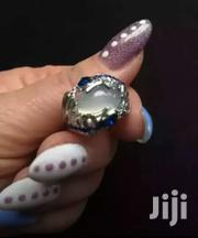 Big Real Blue Rhinestone And Crystal Huge Moonstone Silver Plated Ring | Jewelry for sale in Greater Accra, Adenta Municipal