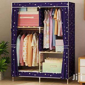 Foldable Wood Cloth Wardrobe Storage Cabinet In Roman Ridge